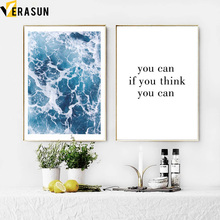 Blue Sea Quote Landscape Wall Art Canvas Painting Posters And Prints Pop  Paintings Pictures For Living Room Home Decor