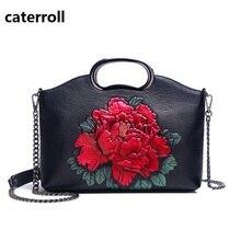 floral print genuine leather bag real leather female handbag chain luxury handbags women bags designer shoulder bags