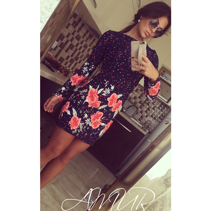 New 2017 Summer Style Ladies Dresses Vintage Casual Fitness Floral Print Long Sleeve O Neck Mini