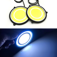 цена на 2x Car Circle Silicone DRL Angel Eyes 12V COB LED Waterproof Automobile Daytime Running Light Front Fog Light Car Styling
