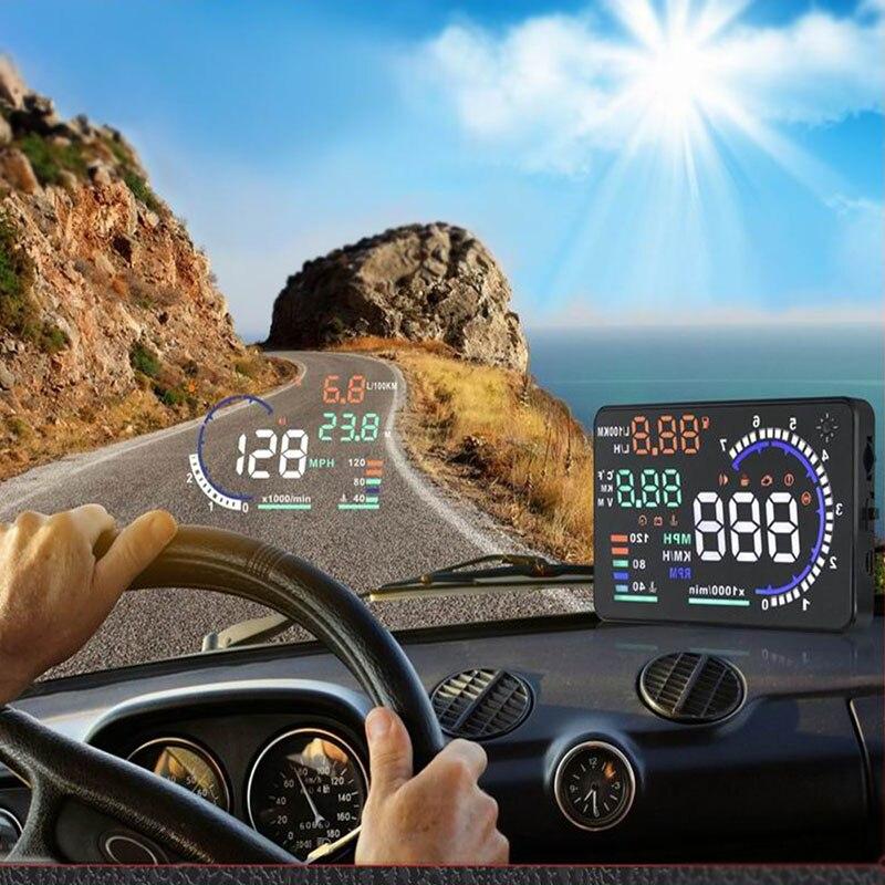A8 5.5 HUD Voiture Head Up Display VOITURE Auto-adaptatif Vitesse Avertissement Pare-Brise Projecteur Véhicule OBD II EOBD données du système de Diagnostic