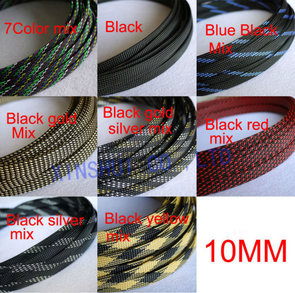Wire Sheathing | 20m 10mm Black Nylon Braided Cable Sleeving Shielding Sheathing Auto