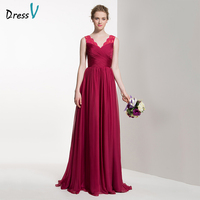 Dressv Long Red Bridesmaid Dress V Neck A Line Sleeveless Lace Pleats Sweep Train Custom Wedding