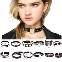 Chandler Heart Lock Velvet Pu Leather Choker Necklace Gothic Punk Harajuku Collier Bat Skull V Love Revit Chocker Summer Jewelry(China)