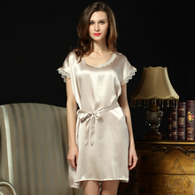 2016 Summer Fashion New Lounge Nightdress Female Silk Slip Sleepwear Super Sexy Plus Size Women's Sleepshirt For Free Shipping