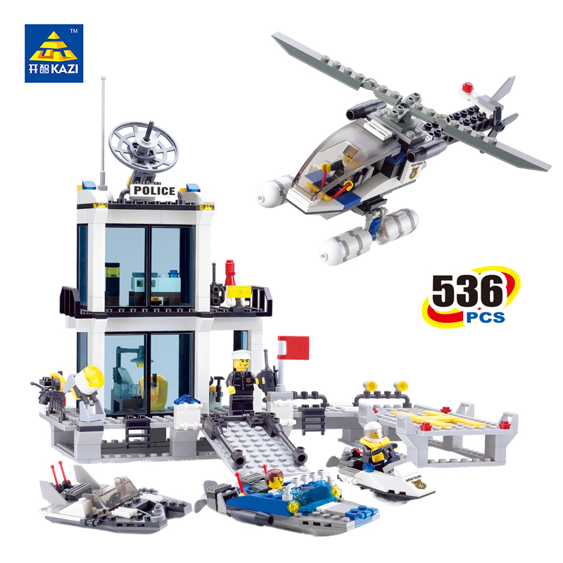 KAZI Police Station Building Blocks Sets Helicopter Speedboat Bricks Model Brinquedos Gift Toys for Children 6+ Ages 536pcs 6726 kazi 6726 police station building blocks helicopter boat model bricks toys compatible famous brand brinquedos birthday gift