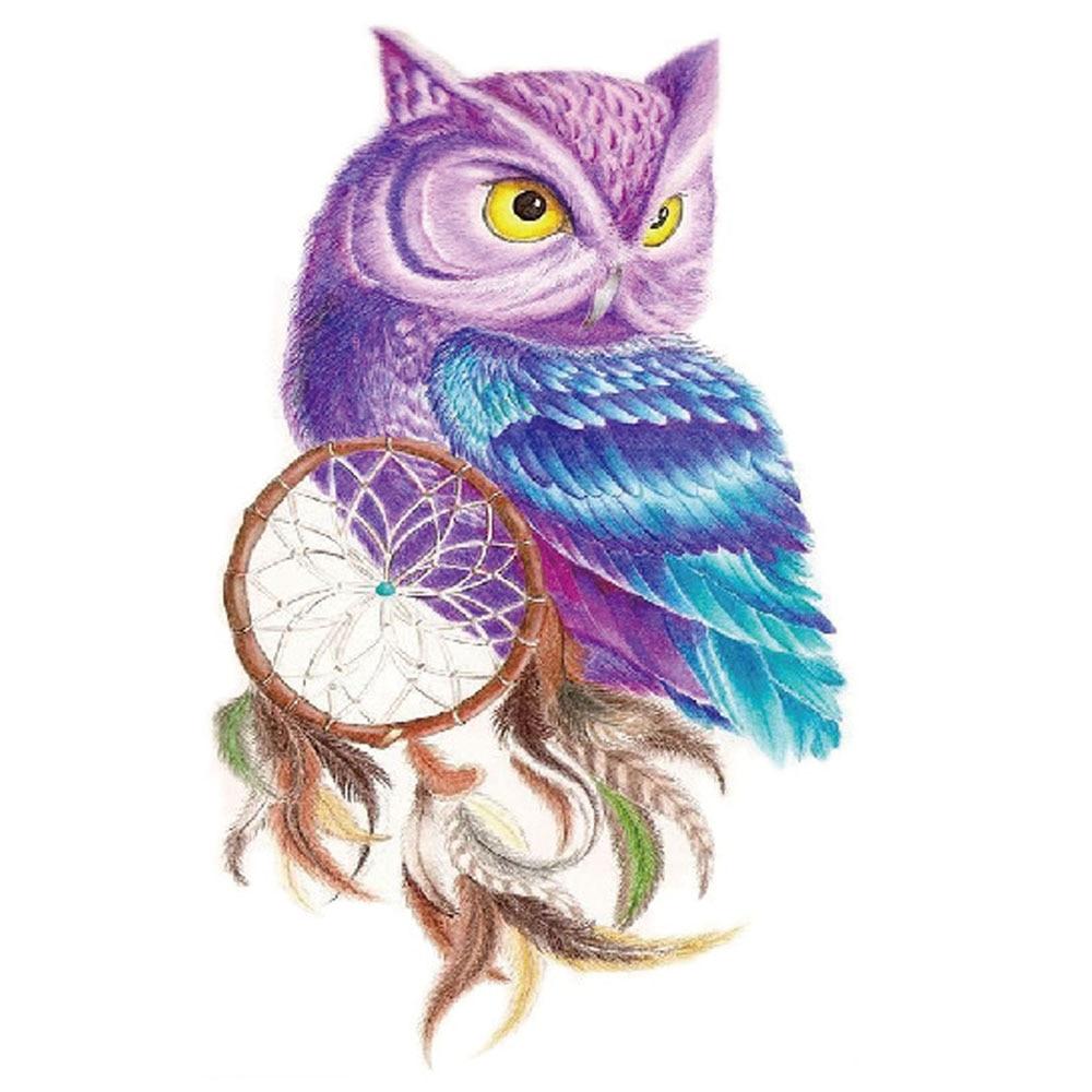 Yeeech Temporary Tattoos Sticker for Men Women Fake Large Owl Animal Dream Catcher Color Design Sexy Arm Leg Body Art Waterproof