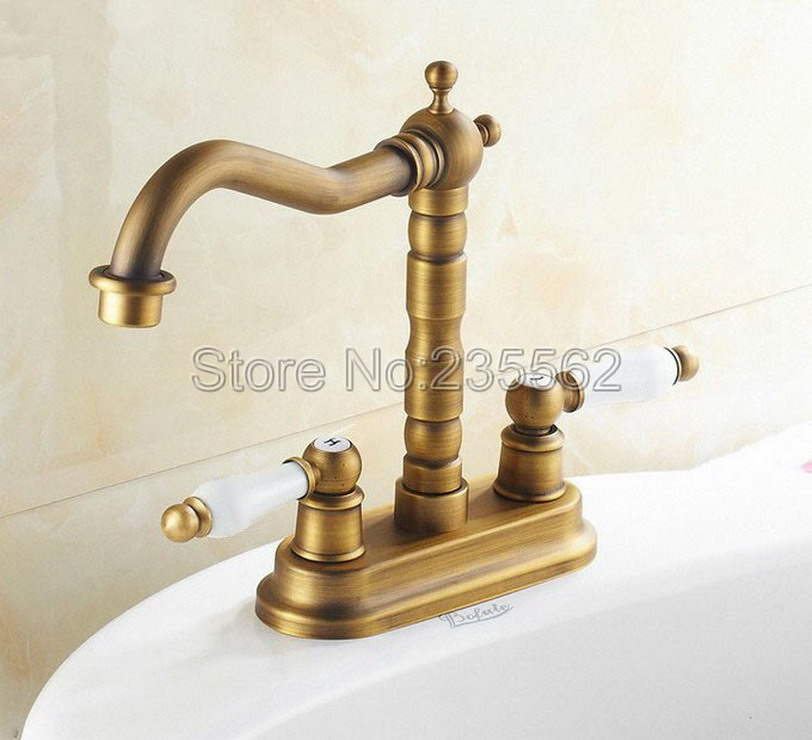 Antique Brass 4 inch Centerset Kitchen Faucet Cold and Hot Water ...