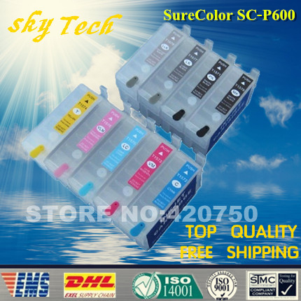 ФОТО Empty Refillable cartridges for Epson Sure Color P600 , SC-P600 refill cartridge for T7601 - T7609 . with ARC chips