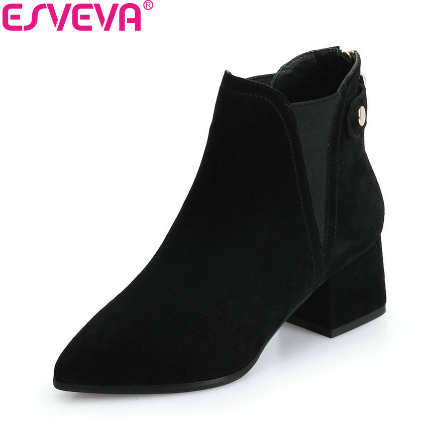 ESVEVA 2018 Women Boots Zippers Black Short Plush/PU Lining Pointed Toe Square High Heels Ankle Boots Ladies Shoes Size 34-39 esveva 2018 women boots zippers black short plush pu lining pointed toe square high heels ankle boots ladies shoes size 34 39