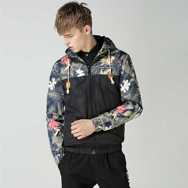 Online Shop LIESA Floral Bomber Jackets Men Hip Hop Slim Fit ...