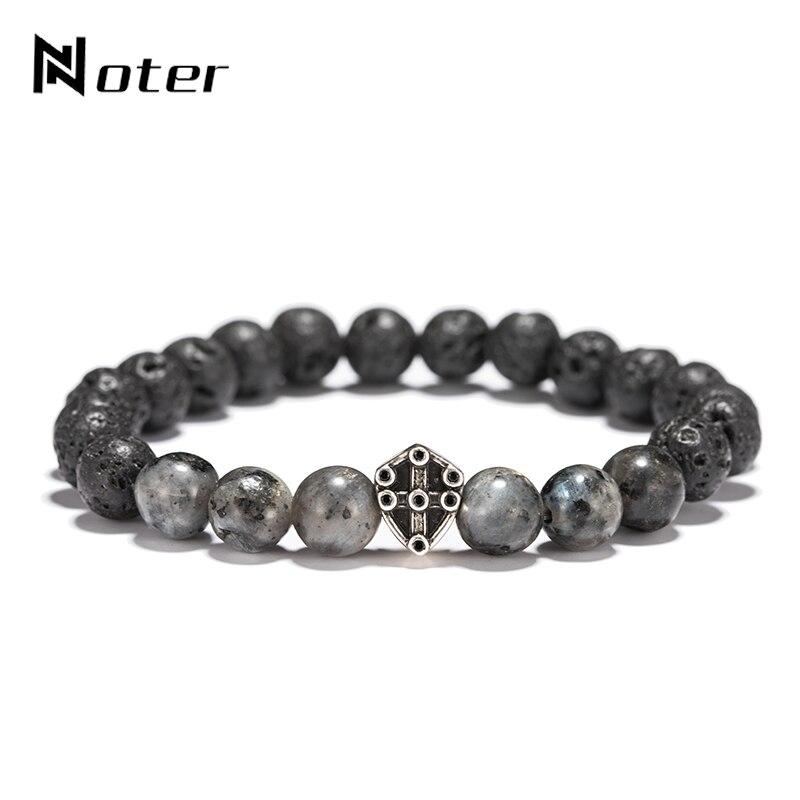 Noter Natural Stone Beads Lava Stone Bracelet Vintage Metal Shield Braslet For Mens Hand Jewelry Erkek Bileklik