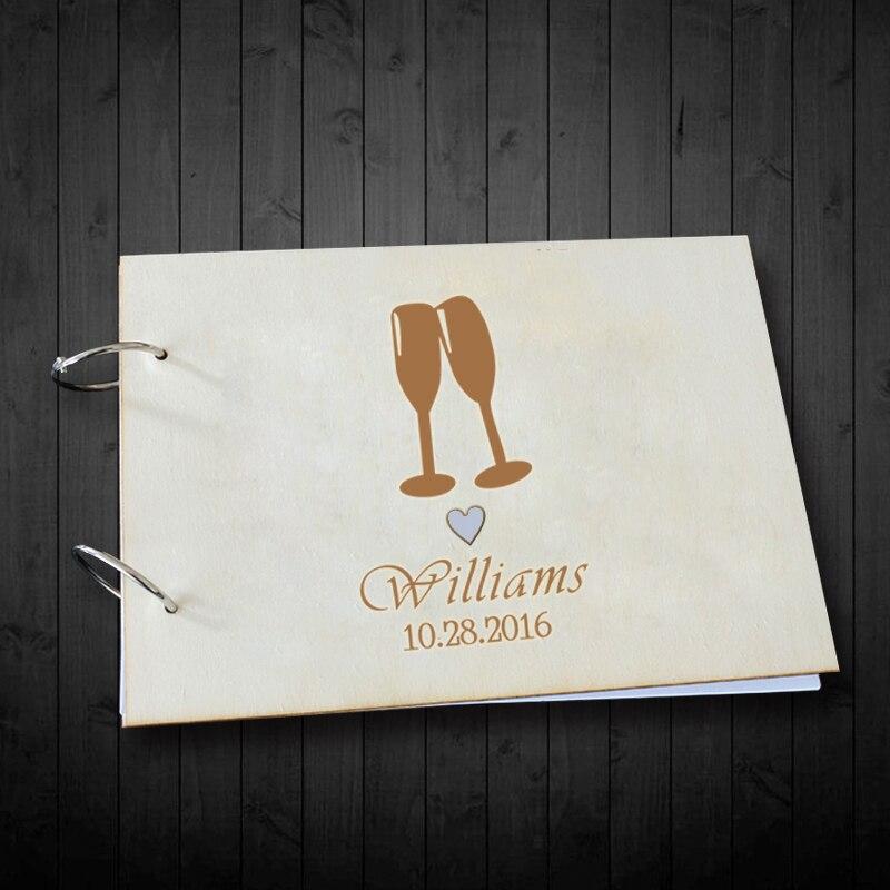Wooden Wedding Album: Engagement Guest Book Wood Wine Glasses Wedding Book