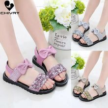Chivry New 2019 Summer Girls Sandals Fashion Bowknot Glitter Princess Shoes Children Kids Baby Beach Flat