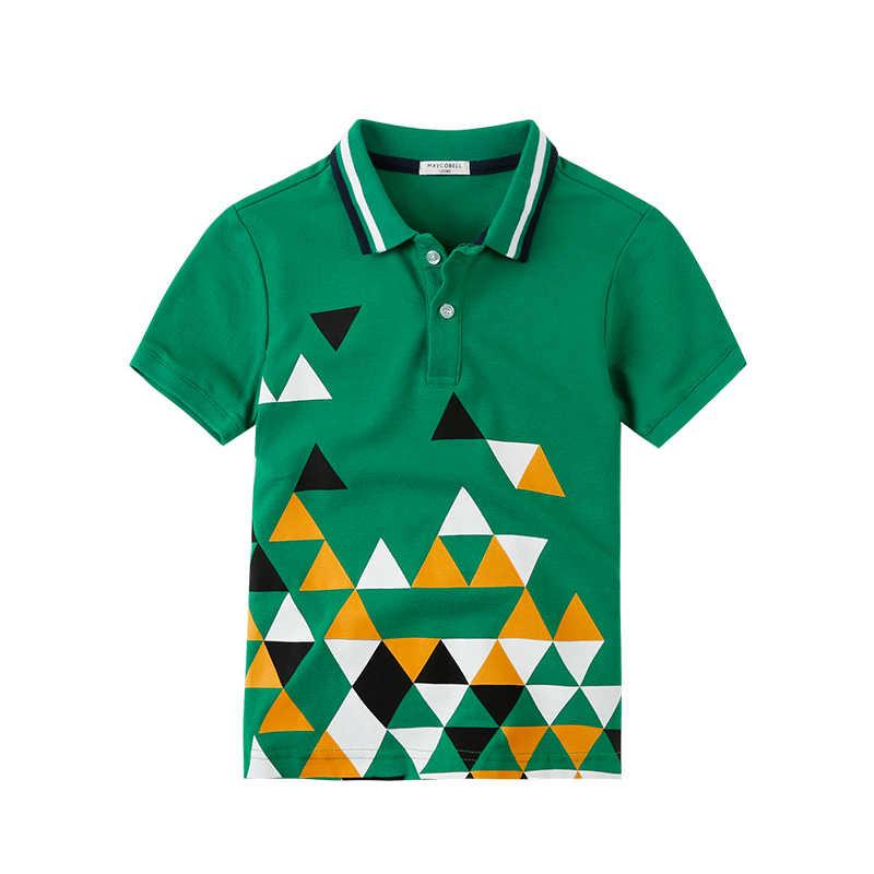 6-16Y Jongens t-shirt Kids Cartoon Walvis Afdruk T-shirts Korte Mouw Zomer Kinderen Jongens Turn-down Kraag Top Tees jongens Pol Shirt