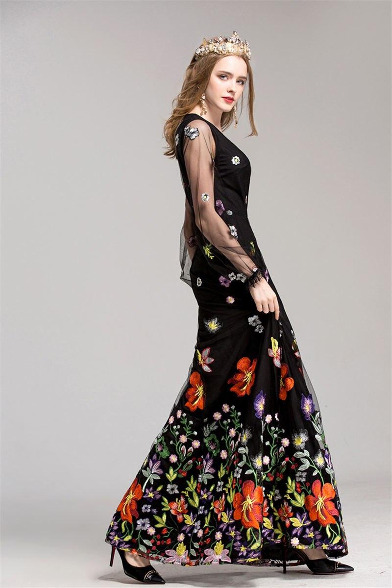 HTB1Ega.i46I8KJjSszfq6yZVXXaq - 2018 Spring High Quality Mesh Floral Embroidery Long Dress Full Sleeve Vintage Flower Black Runway Designer Maxi Women Desses