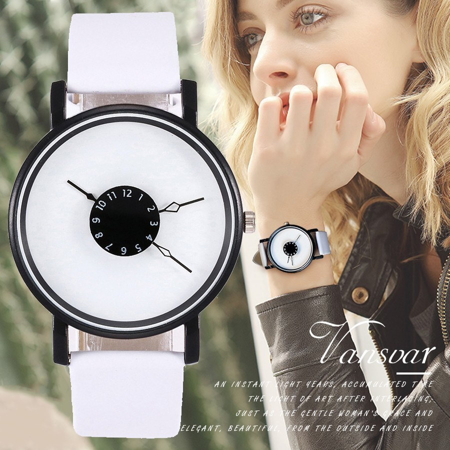 Vansvar Brand Unique Dial Design Watch Leather Wristwatches Fashion Creative Watches Women Men Quartz Watch Relogio Feminino Hot wt20 tig welding tungsten electrode 2