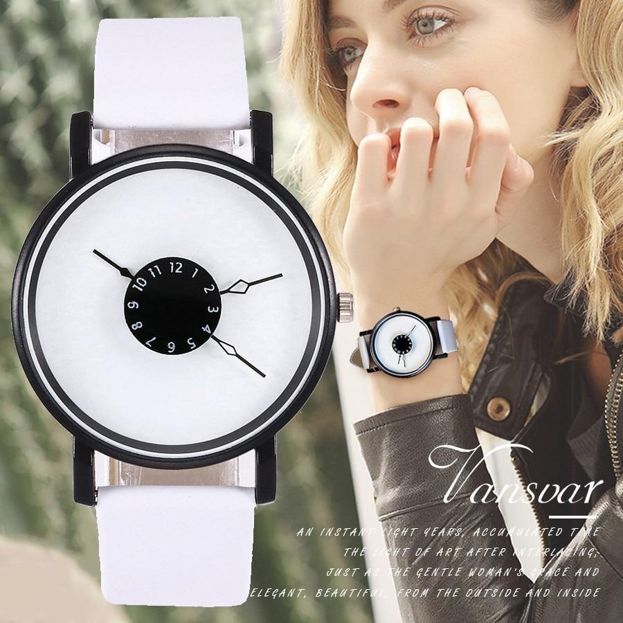 Vansvar Brand Unique Dial Design Watch Leather Wristwatches Fashion Creative Watches Women Men Quartz Watch Relogio Feminino Hot