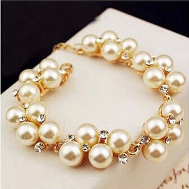 Fashion New Brand Design Luxurious Gold Plated Charm Crystal Cubic Zircon simulated Pearl Beads Bracelet For Women 2107