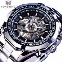 Forsining Mens Skeleton Watches Top Brand Luxury Stainless Steel Waterproof D Transparent Water Mechanical Men's Wrist Watch