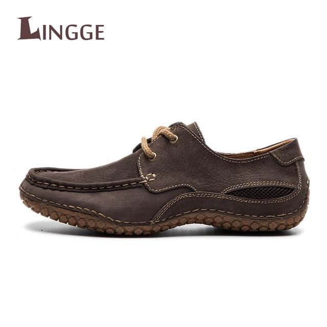 Nuevos hombres Mocasines Zapatos Cuero auténtico vintage Encaje suave cuero Zapatos 2018 vestido Zapatos para hombres formal mocassin homme