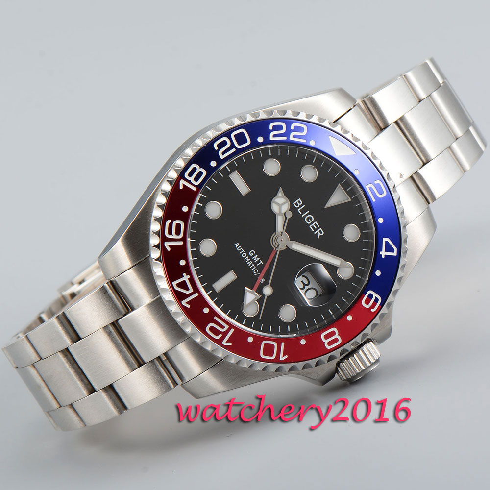 Sportlich 43mm Bliger polished case black dial white marks sapphire glass GMT Automatic movement Men s