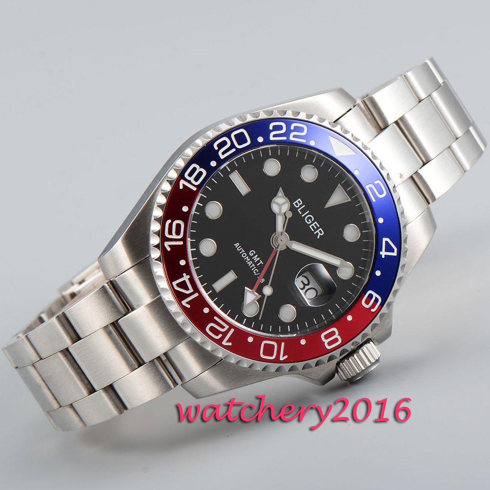 Reloj de hombre con movimiento automático de vidrio de zafiro con marcas de esfera negra pulida de 43mm-in Relojes mecánicos from Relojes de pulsera    1