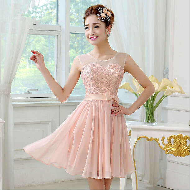 Short Bridesmaid Dress 2017 Ball Gown Scoop Neck Lace Embroidery Party Gowns Pink Color