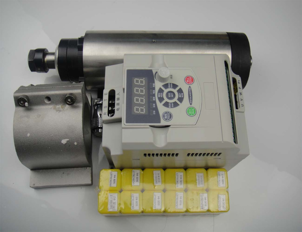 ER 20 24000RPM 2.2KW air cooled spindle motor 4 bearing+2.2KW VFD inverter+spindle clamp 80mm+12 pieces ER20 collets