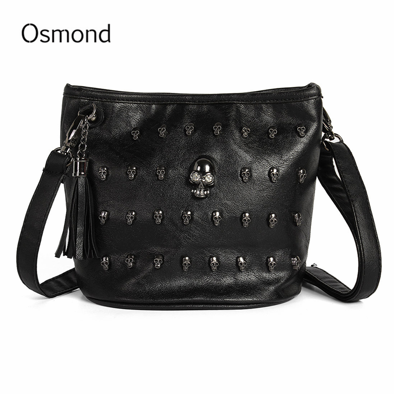 Osmond siyah kafatası çanta kadın Punk omuzdan askili çanta bayanlar perçin çiviler çanta Vintage deri Messenger Bolsas püskül Crossbody çanta