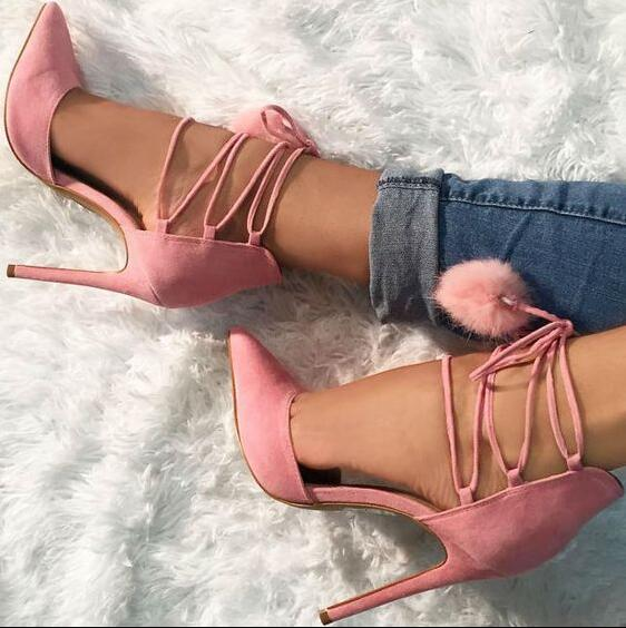 Hot Selling Brand Fashion Women Cute Pink Pom Pom Fur Ball Cross Lace Up Pointed Toe Stiletto Heel Party Pumps Shoes pom pom trim tropical swim cover up shorts