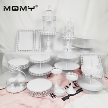 19 Pcs Cupcake Set Accessory Tray Metal Wholesale White Pink Vintage Birdcage 2 Tier Wedding Cake Stand