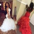 Sexy backless blanco sirena roja vestidos de baile 2017 ruffles organza africano larga fiesta de graduación dress vestidos de noche