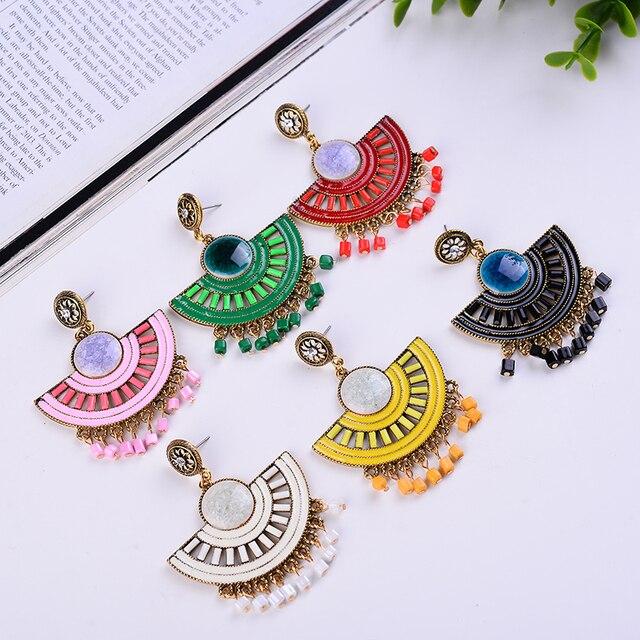 Semicircular Bohemian Beaded Drop Earrings 8