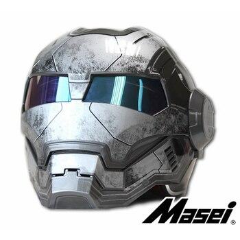MASEI – casque de moto gris IRONMAN, demi-casque rétro ouvert au visage, 610 ABS, nouveau 2
