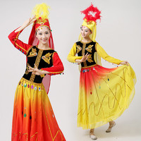 Traditional National Xinjiang Dance Dress Chinese Women Folk Dancing Clothes Cosplay Costume Ethnic Stage Performance Clothing