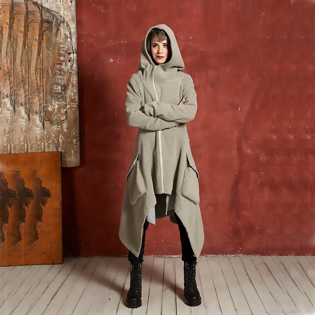 ecf76e2f863 2018 Winter Women S Hooded Zipper Long-Sleeved Fleece Irregular ...