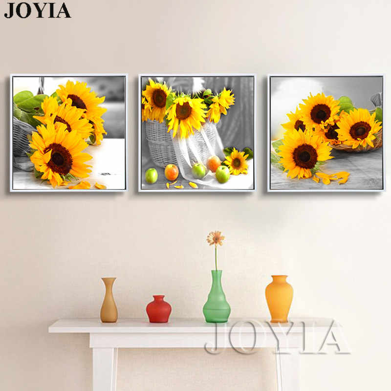 Modern Home Decor Wall Paintings Set Yellow Sunflower On Desk Floral Art Canvas Prints 3 Piece/Set Still Life Pictures No Frame