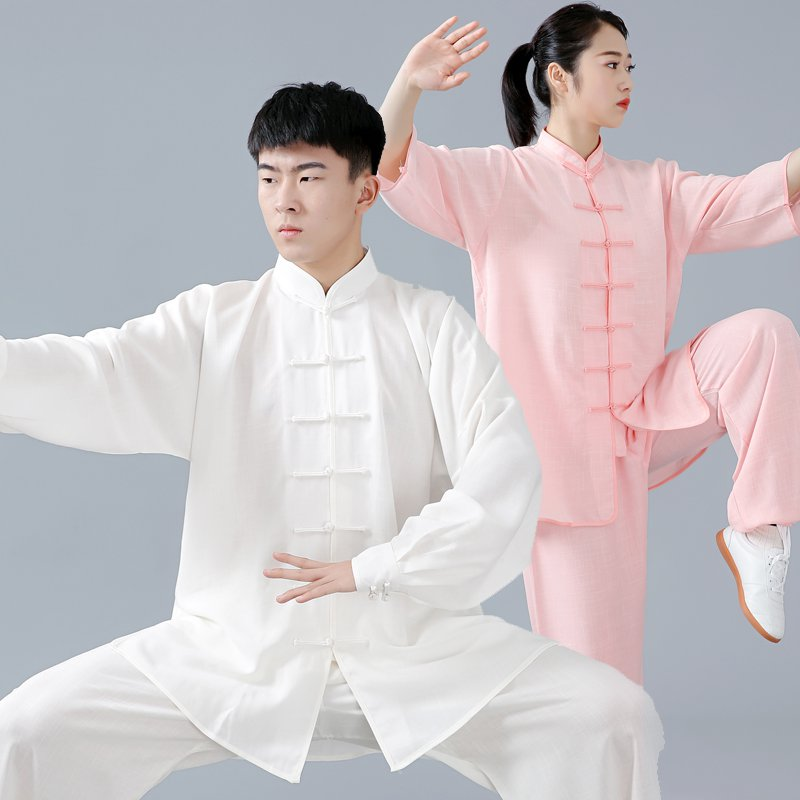 Spring Men Unisex Martial Arts Tai Chi Uniforms Linen Loose Bloomers Pants Chinese Traditional Kung Fu Meditation Casual Wear