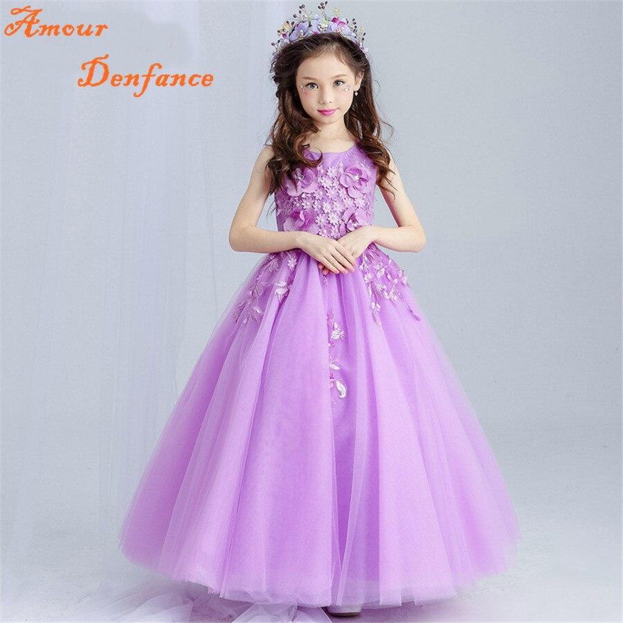 ФОТО 110-170cm Girl's Flower Long Floor Dress Children Flower Pearl Sleeveless Princess Evening Dress Wedding Costumes Purple FY0002