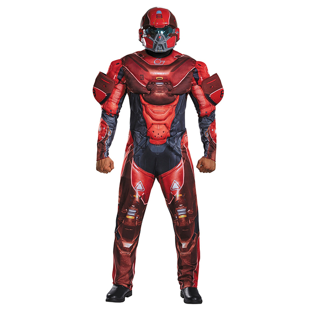 red spartan athlon adult costumes have jumpsuits and helmet cosplay clothing from halo 5 guardians halloween