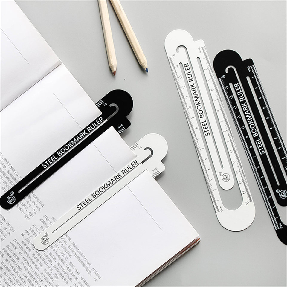 1pcs Stainless Steel Bookmarks Ruler 15cm And13cm 12 Cm Colorful  High Quality Metal Ruler School Supplies Drawing Supplies