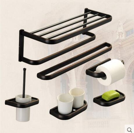 купить Luxury Copper bathroom accessories black oil brushed towel bar glass shelf toilet brush holders wall mount bath hardware set недорого