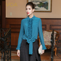 VOA Heavy Silk Blouse Plus Size Women Tops Cyan Blue Long Sleeve Belt Ruffle Casual Solid Slim Business Shirt Spring BSH01201