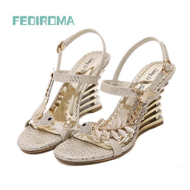 FEDIROMA 2016 Summer Women Sandals,Wedge heel sandals,Fashion Rhinestone high heel shoes,Elegant Wedding heels for women