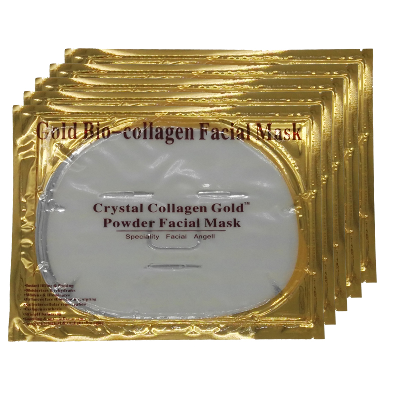 Face Care Bio-Collagen Facial Mask Crystal Gold Powder Collagen Facial Mask Moisturizing Anti-aging 5PCS 2017 New Arrive