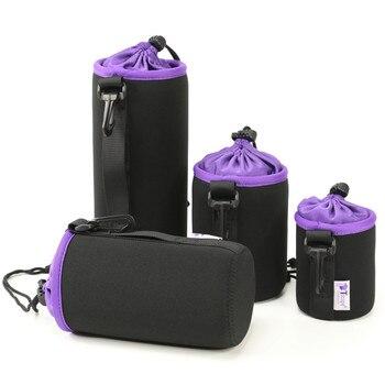 Black Photo Protective Soft Neoprene DSLR Camera Lens Pouch Protector Bag Soft Short Fluff Case Bags S, M, L, XL Set (4pcs/Pack) Camera/Video Bags