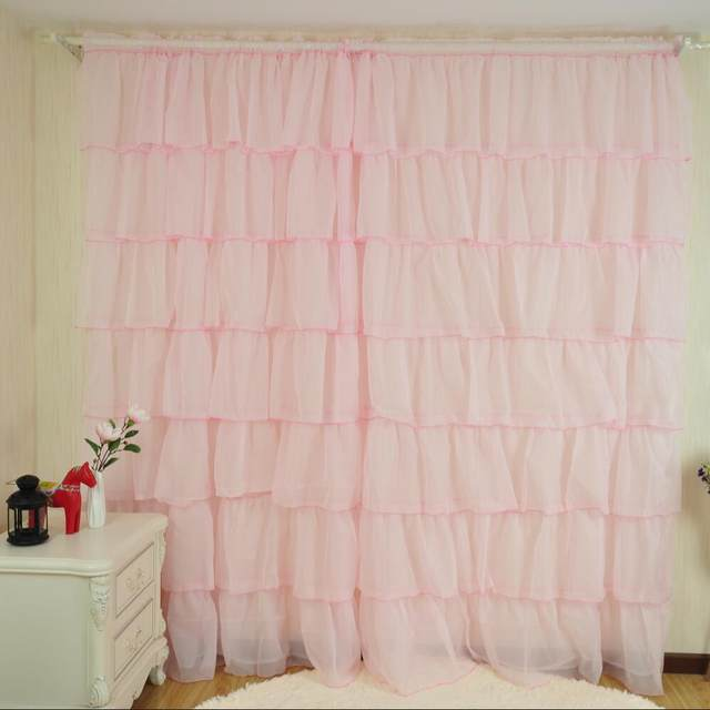 Solid Pink Green White Color Curtain Lotus Leaf Girls Princess Room For Kitchen Sheer Panels Curtains For Living Room HP011#20