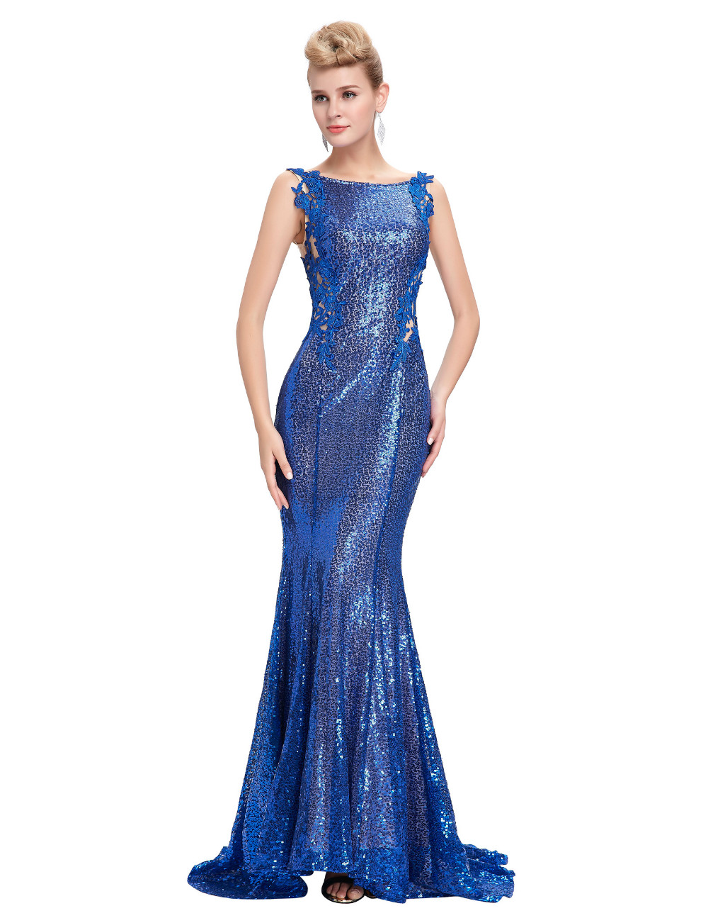 Kate Kasin Mermaid Bridesmaid Dresses Long Dress for Weddings Party Gown 2017 Grey Blue Black Sequin Bridesmaid Dress 0072 5