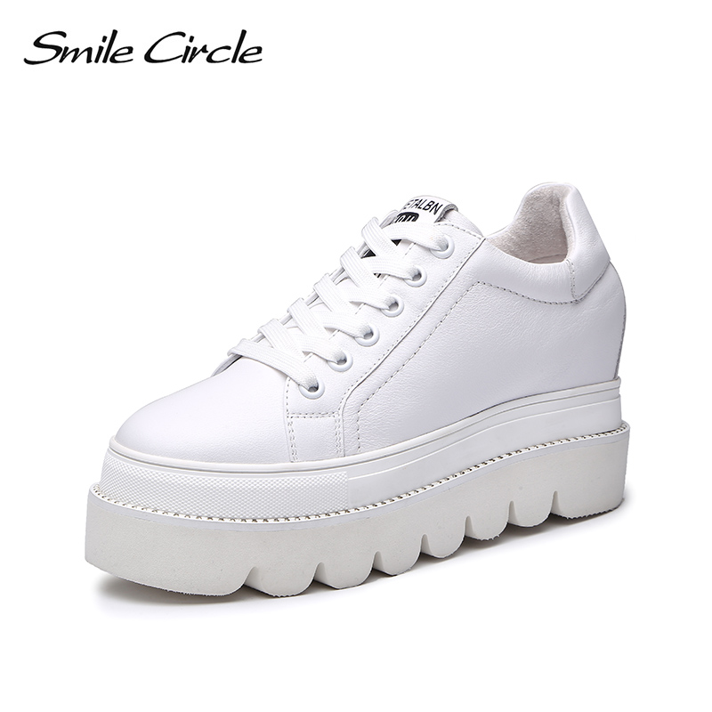 Smile Circle Genuine Leather Flat Platform Shoes For Women 2018 Autumn Lace-up Round Toe Thick bottom Casual Shoes women Sneaker beffery 2018 british style patent leather flat shoes fashion thick bottom platform shoes for women lace up casual shoes a18a309